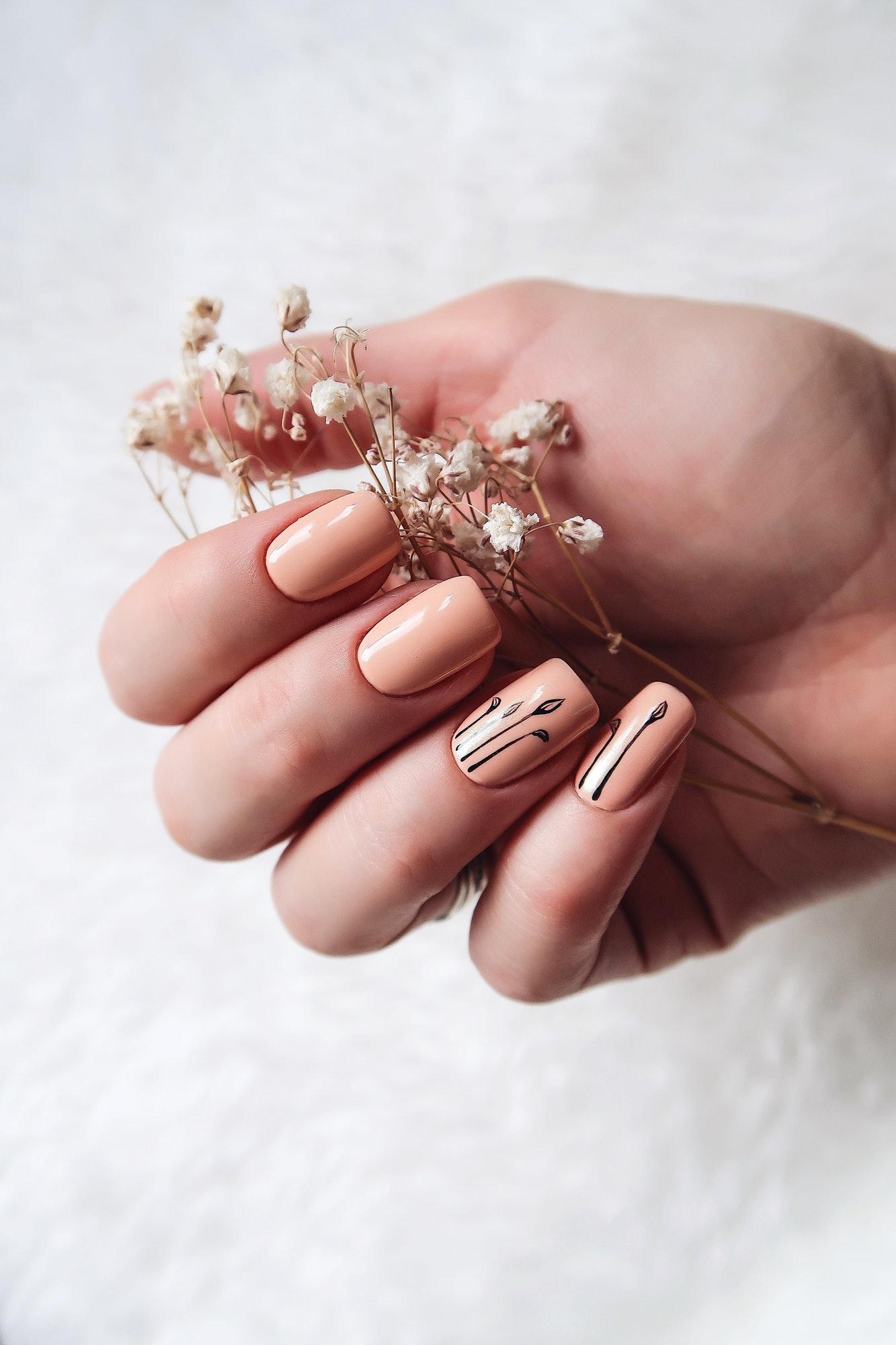 Creative manicure beige color